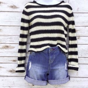 Free People Beach Black White Cropped Sweater